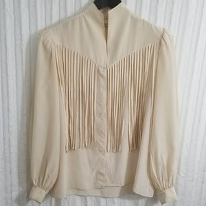 Vintage betty hanson 100% Silk fringe blouse